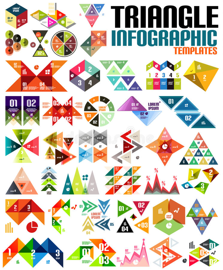 Huge geometric shape infographic template set royalty free illustration