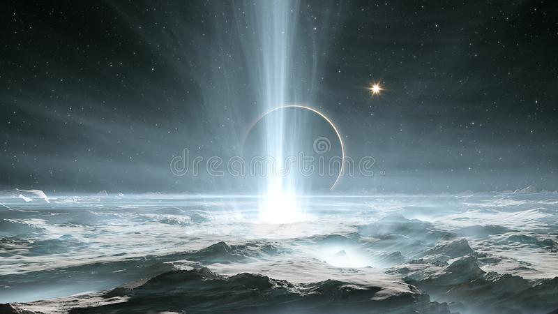 The huge geysers on Jupiter`s icy moon Europa royalty free illustration