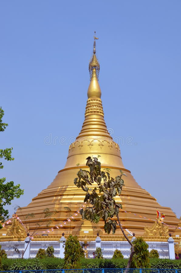 Huge golden buddhist stupa stock photos