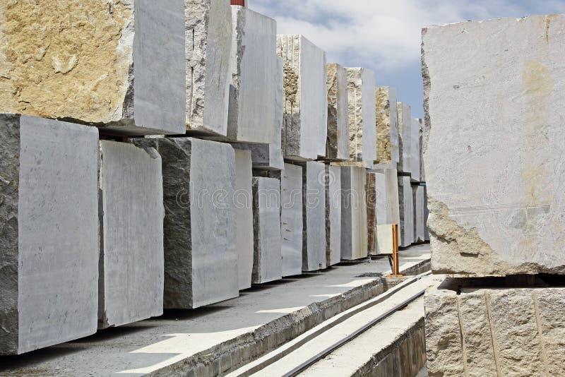 Huge Granite Stone : Huge granite blocks extracted from quarry stock photo