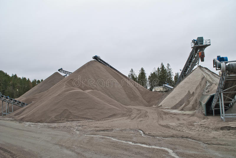 Huge gravel piles at brekke quarries, piles 4 royalty free stock image