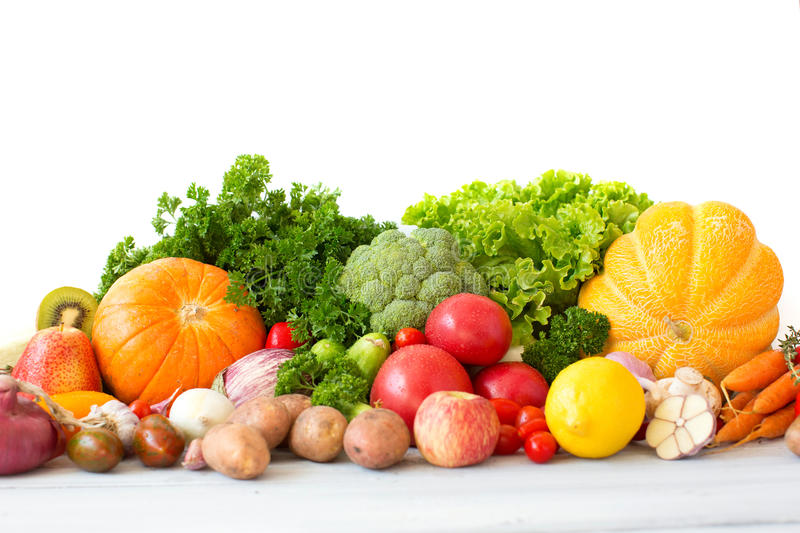 Huge group of fresh vegetables and fruits. stock photography