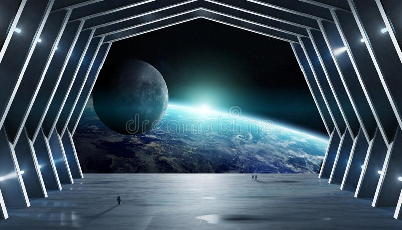 Huge hall spaceship interior 3D rendering elements of this image furnished by NASA royalty free illustration
