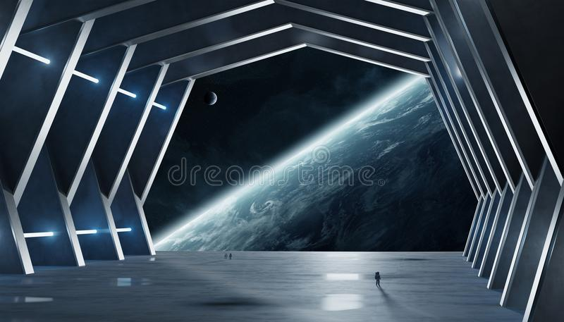 Huge hall spaceship interior 3D rendering elements of this image stock illustration