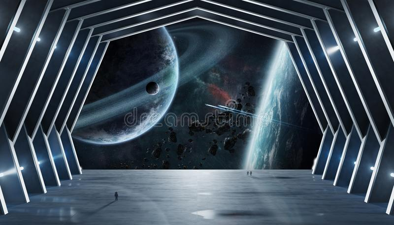 Huge hall spaceship interior 3D rendering elements of this image vector illustration