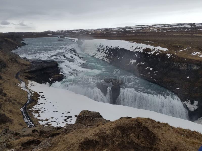 Huge Icelandic waterfall royalty free stock photography