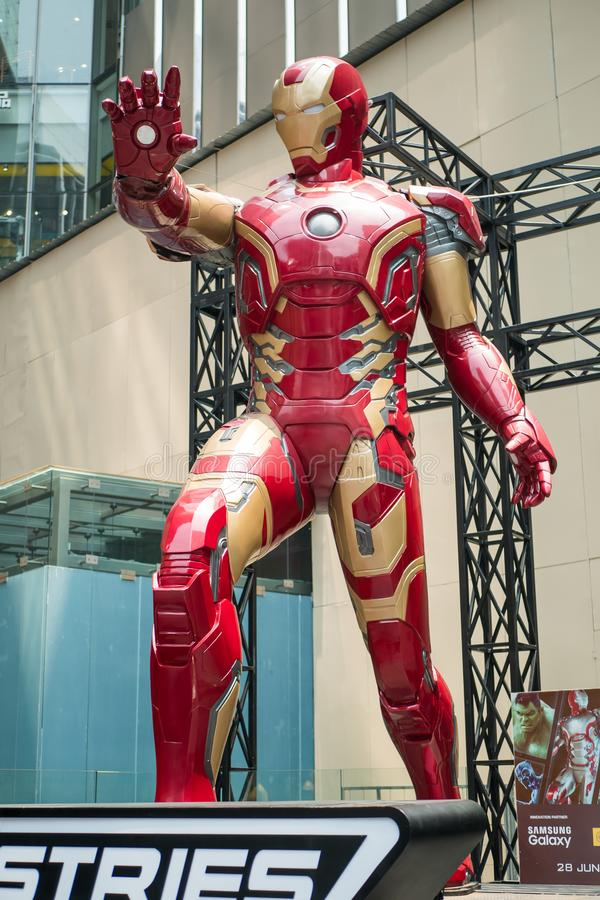 A huge Iron man statue display at the KL Pavilion stock photo
