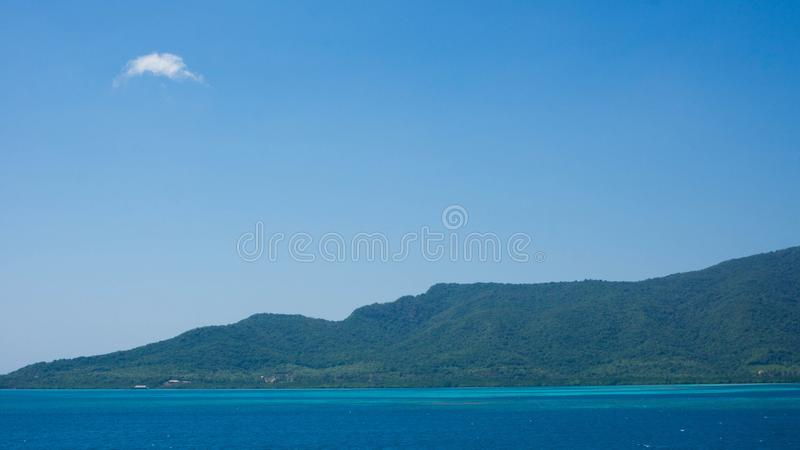 A huge island karimun jawa in central java indonesia with tropical weather and green forest mountain as background stock images