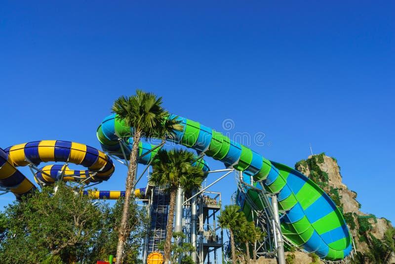 Huge Jungle Water Tube Slide stock photography