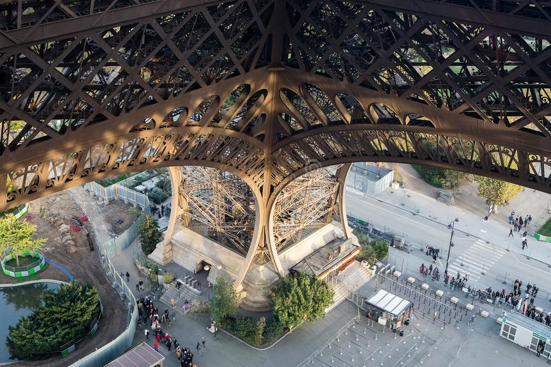 Huge leg pylon of the Eiffel Tower royalty free stock image