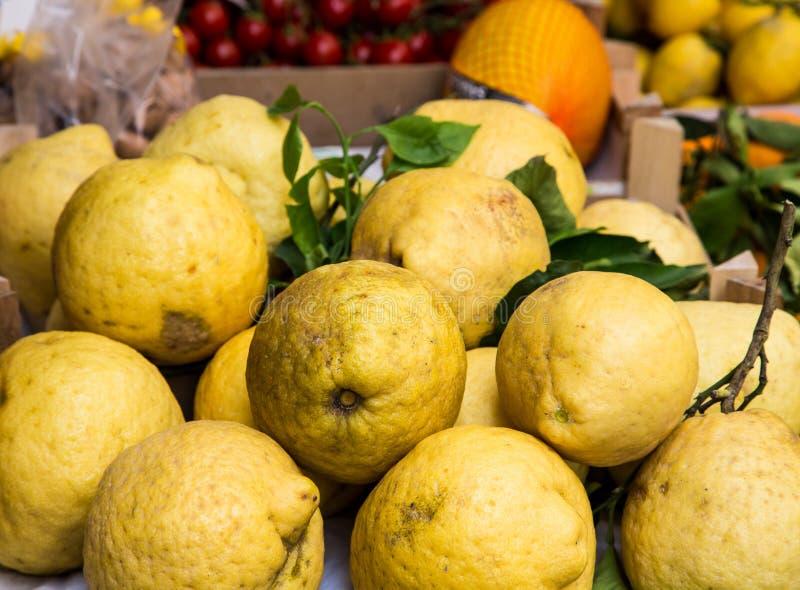 Huge Lemons in Market royalty free stock photo