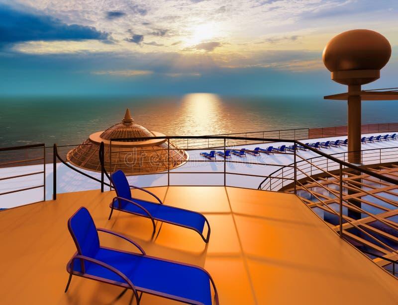 Huge luxury cruise ship 3d rendering. Huge luxury cruise ship at sea vector illustration