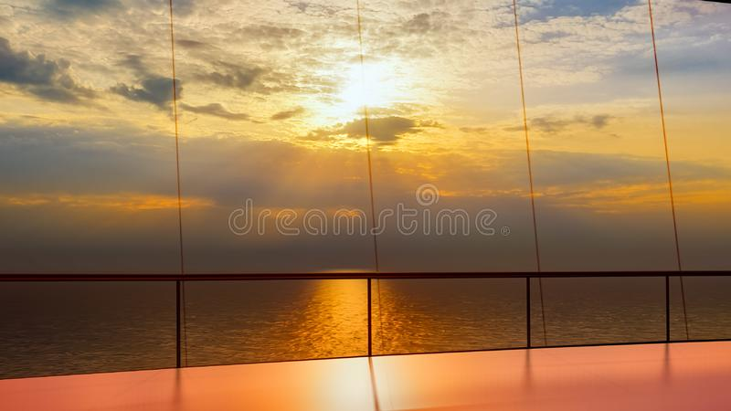 Huge luxury cruise ship 3d rendering. Huge luxury cruise ship at sea royalty free illustration