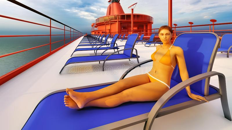 Huge luxury cruise ship 3d rendering. Huge luxury cruise ship at sea stock illustration