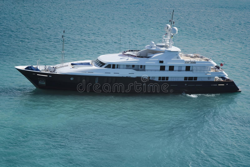 Huge luxury yacht in the waters of St. Thomas. US Virgin Islands stock images