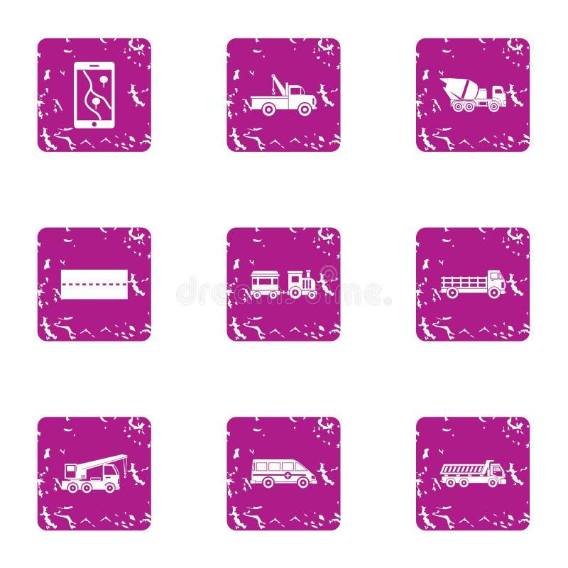 Huge machine icons set, grunge style. Huge machine icons set. Grunge set of 9 huge machine vector icons for web isolated on white background royalty free illustration