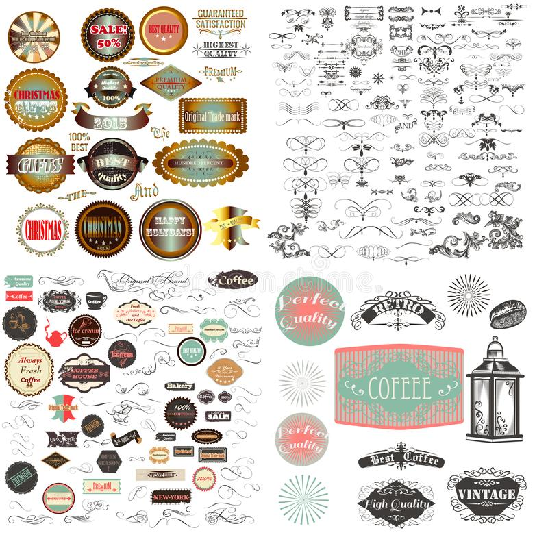 Huge mega vector collection or set of vintage flourishes, calligraphic elements and labes with badges for design royalty free illustration