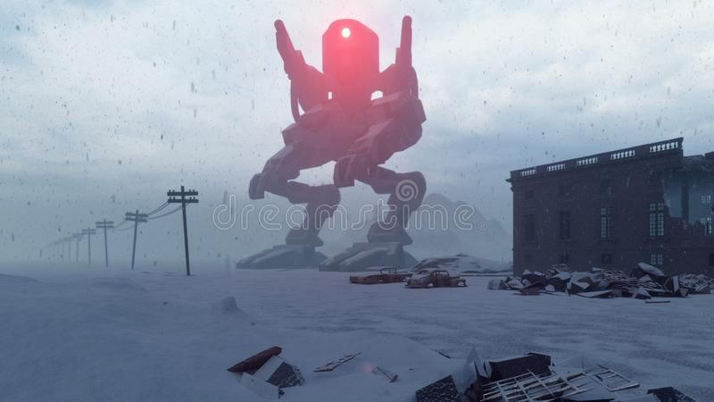 A huge military robot stands in the middle of the ruined apocalyptic city. View of the Apocalypse. 3D Rendering royalty free illustration