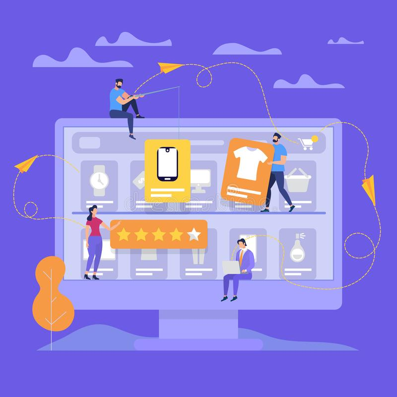 Huge Monitor with People Make Online Shopping. stock illustration