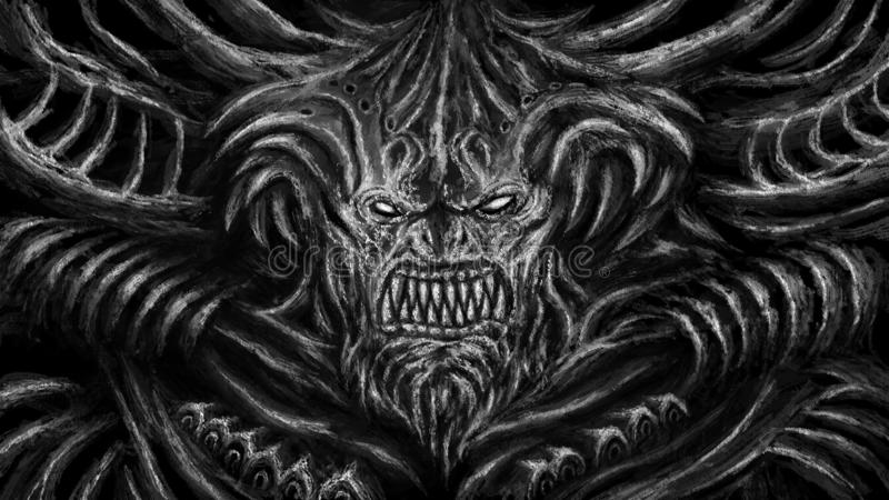 Huge monster with horns. Black and white color. Huge monster with horns. Character in the genre of fantasy. Black and white color stock illustration