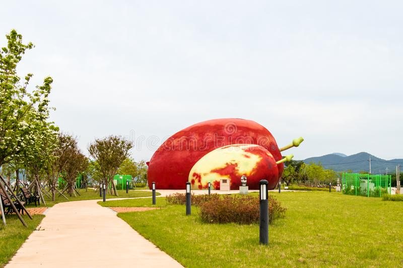 Huge Monument of Exhibition Center of Jujube Garden, Eoseulleong. Uiheung-myeon. Gunwi, Gyeongsangbuk, South Korea, Asia. Huge Monument of Exhibition Center of stock images