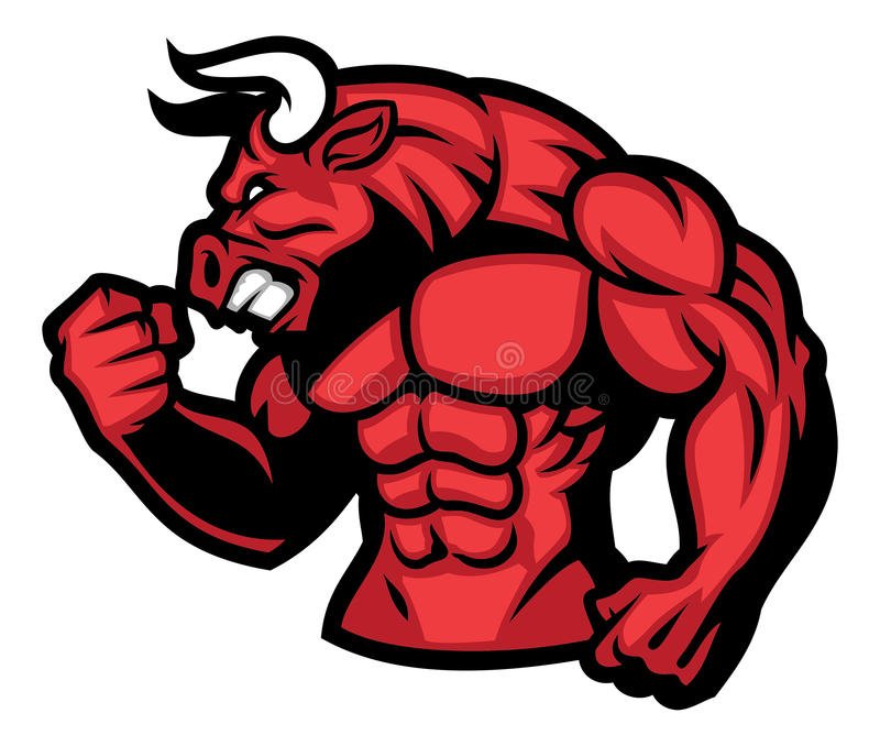 Huge muscle of red bull. Vector of huge muscle of red bull royalty free illustration
