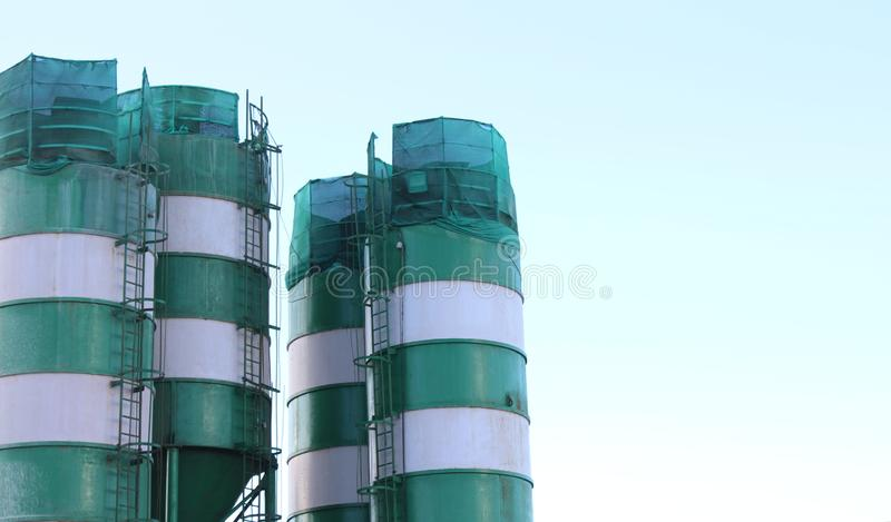 Huge oil tanks for storage purposes stock images