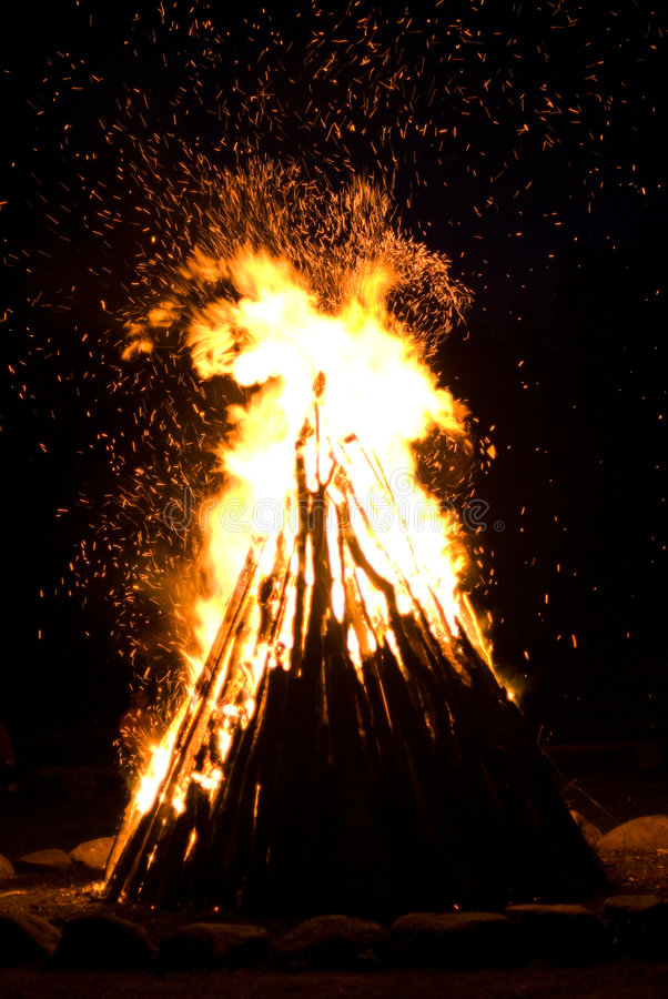 Huge Outdoor Bonfire royalty free stock image