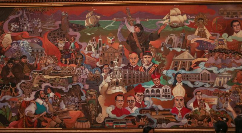 A huge painting about the history of bicol region in the Philippines royalty free stock photo