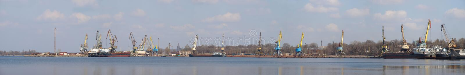 Huge panorama of industrial port royalty free stock photos