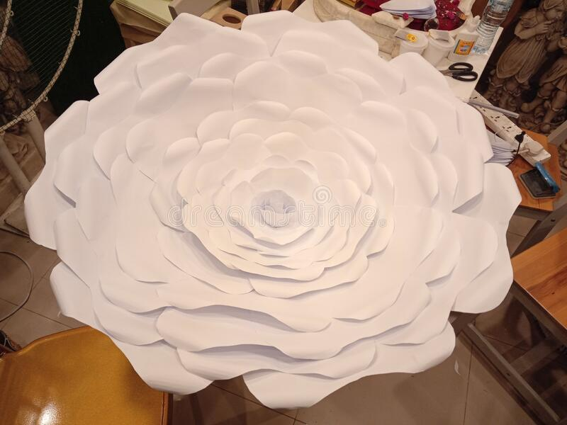 Huge paper flower for wedding. Little effort to make huge paper flower for arrangement in weddind royalty free stock photos