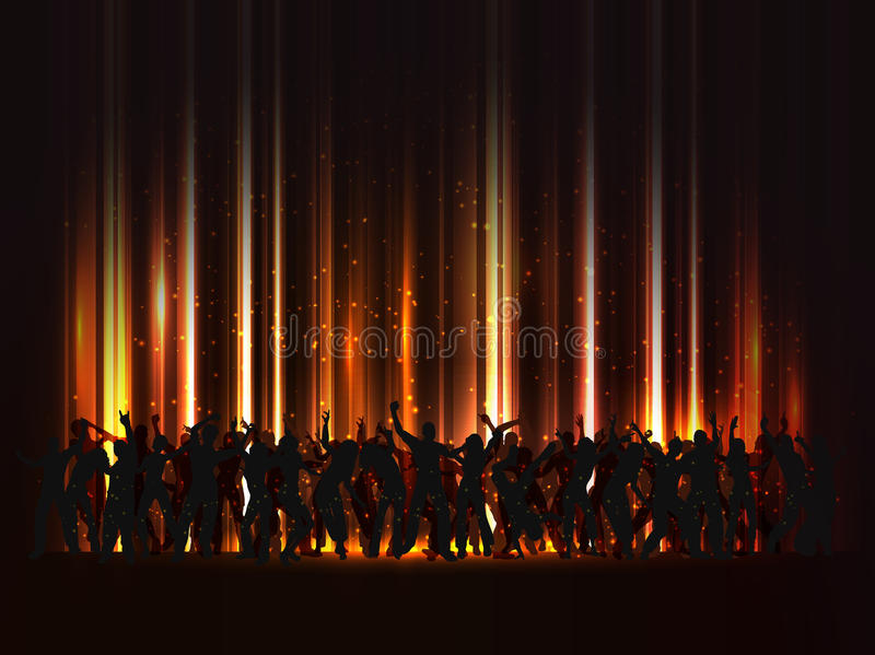 Huge party. Silhouette of a huge crowd of party people on an abstract background