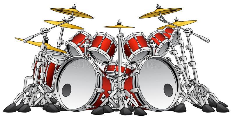 Huge 10 Piece Rock Drum Set Musical Instrument Illustration stock illustration
