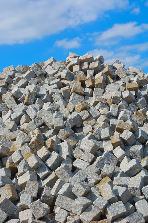 Huge pile of cobbled stones. For roadworks royalty free stock image