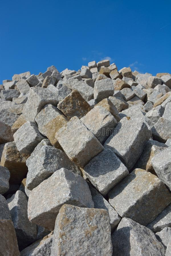 Huge pile of cobbled stones. For roadworks royalty free stock photos
