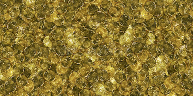 Huge pile of gold coins. Huge pile of gold American dollar coins royalty free stock images