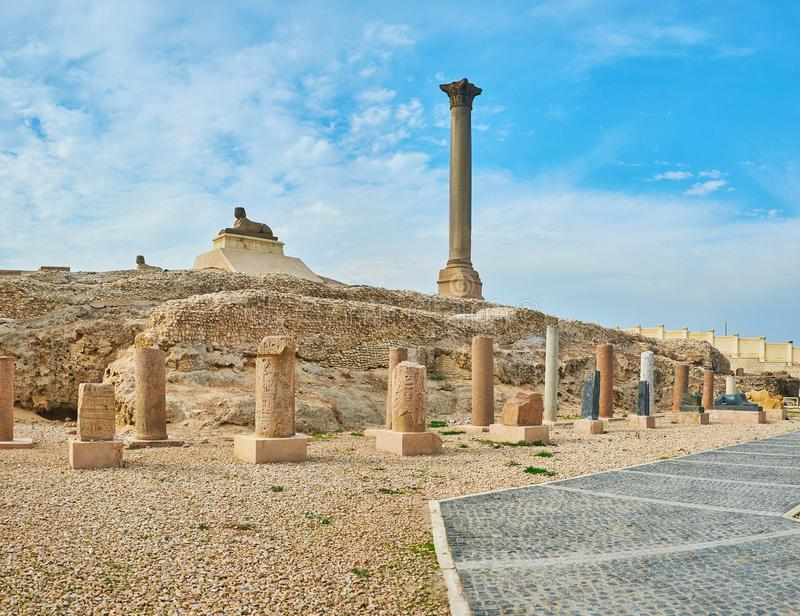Remains of Roman Period in Alexandria, Egypt royalty free stock images