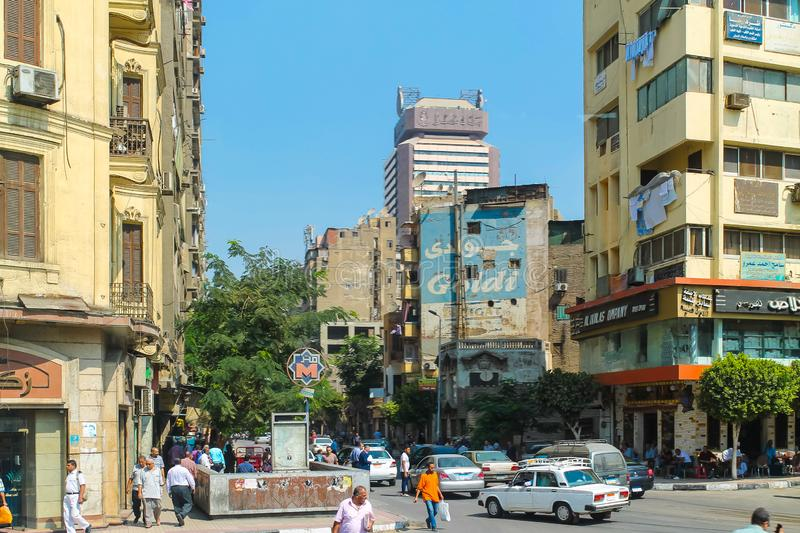 The streets of Cairo are overcrowded with people and waste products and a huge population density. A huge population density streets of Cairo are overcrowded royalty free stock photography