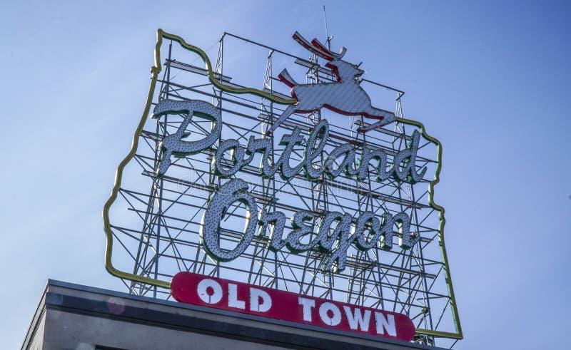 Huge Portland Oregon Old Town sign - PORTLAND - OREGON - APRIL 16, 2017 stock photography
