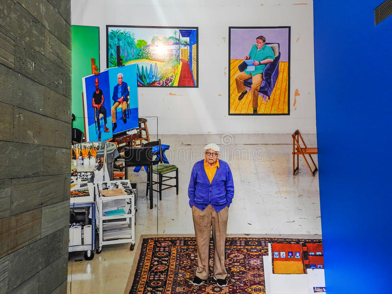 Huge poster of David Hockney in the hall 1 stock image