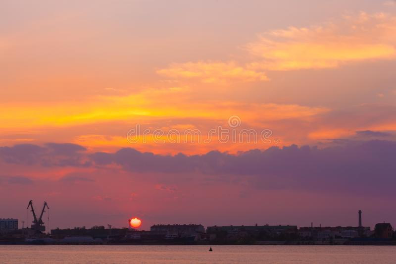 Coastal river sunset, Astrakhan, Russia royalty free stock photography