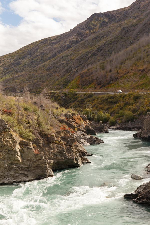 Huge river in the South Island, New Zealand. royalty free stock photos
