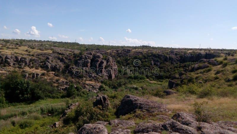 Huge rocks of Aktovo canyon royalty free stock photo