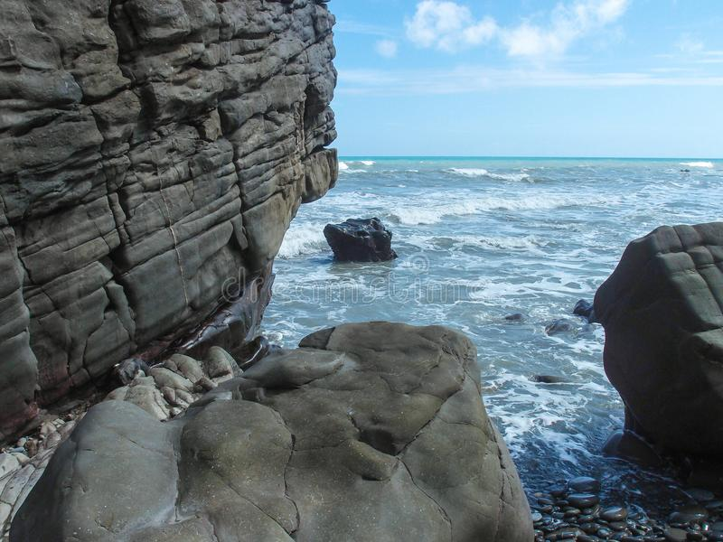 Huge rocks and the sea. stock photography