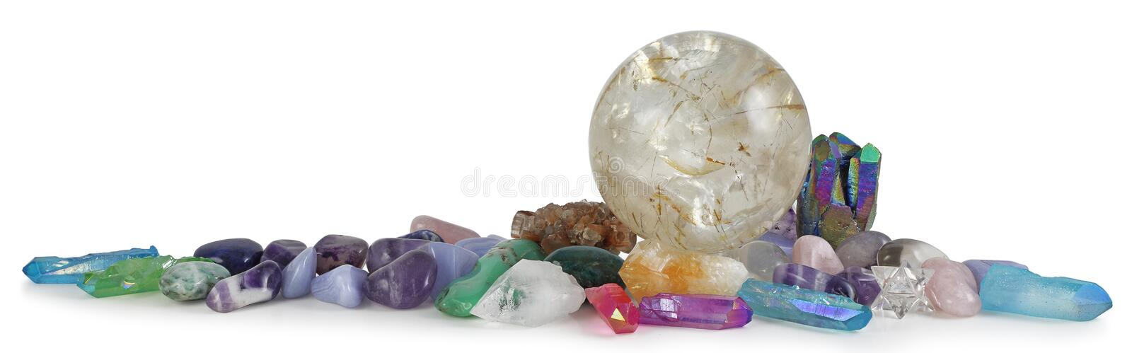Row of multicoloured Healing Crystals Background Banner stock image