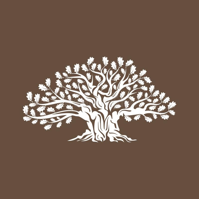 Huge and sacred oak tree silhouette logo badge isolated on brown background. royalty free illustration
