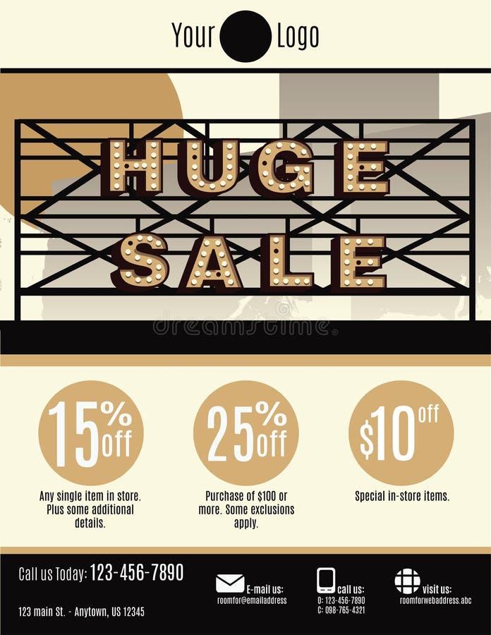 Huge Sale marquee flyer template. Vector flyer template with a huge sale marquee sign royalty free illustration