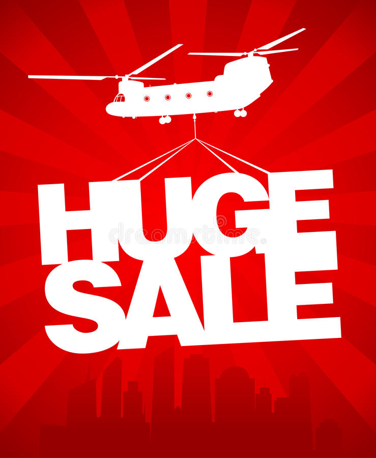 Huge sale vector design template. stock illustration