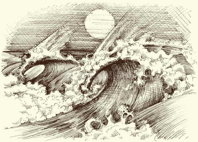 Huge sea waves etching. Sun at the horizon royalty free illustration