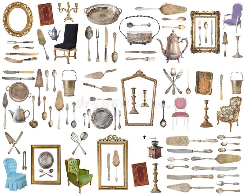 Huge set of antique items.Vintage household items, silverware, furniture and more. Isolated on white background stock images